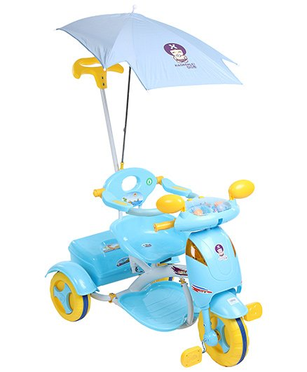 Fab N Funky Designer Tricycle with Push Handle and Canopy - Blue