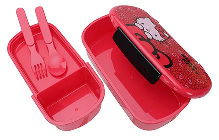 Hello Kitty Lunch Box with Spoon and Fork - Red