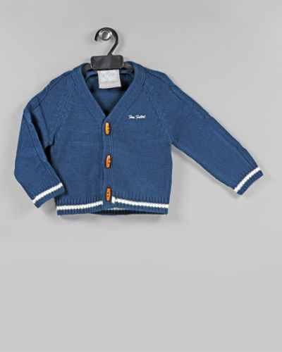 Wooden Button Sweater - Navy Blue
