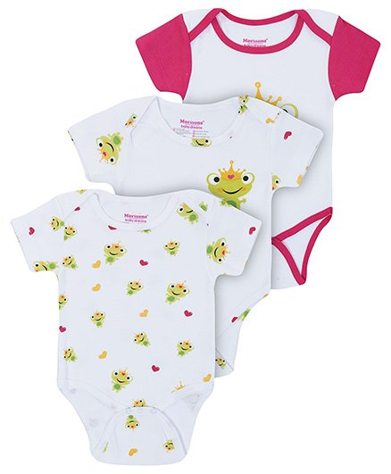 Morisons Baby Dreams Pink Half Sleeves Onesies - Pack Of Three