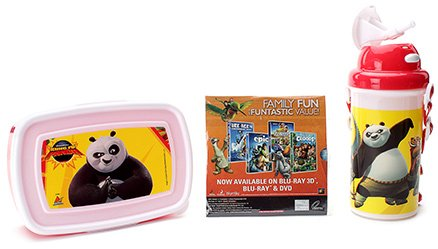 Kung Fu Panda Lunch Box Kit With Free Movie CD - Multi Color