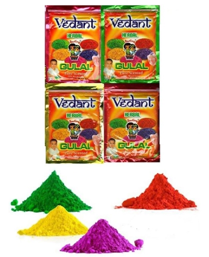 Vedant Herbal Gulal Pouch 100 gm - Pack of 4 Assorted Colors