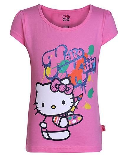 Hello Kitty Short Sleeves T-Shirt Pink - Painting Print