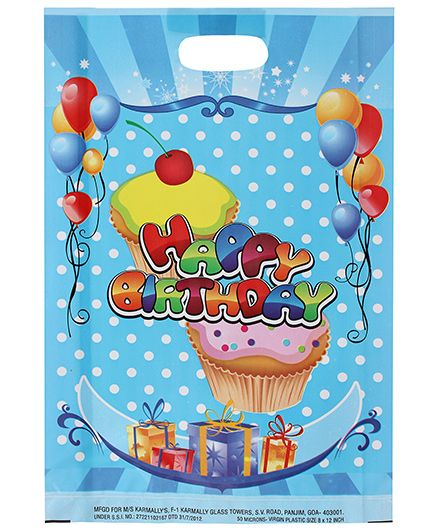 Karmallys Printed Happy Birthday Bag- Dark Blue