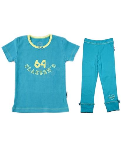 Claesens Short Sleeves Tee and Legging Set 64 Print - Aqua Blue