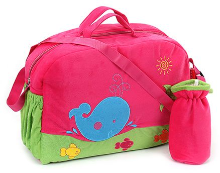 Sapphire Diaper Bag with Bottle Cover Pink - Fish Design