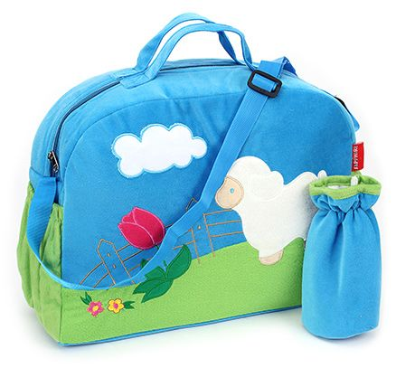 Sapphire Diaper Bag with Bottle Cover Blue - Sheep Design