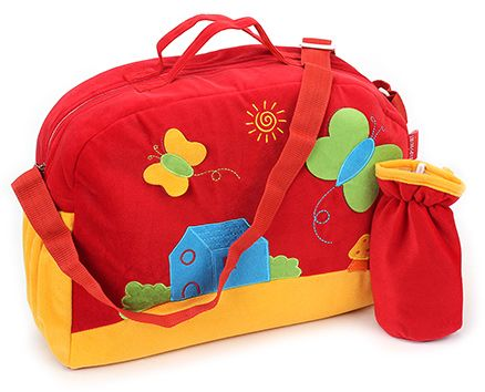 Sapphire Diaper Bag with Bottle Cover Red - Butterfly Design