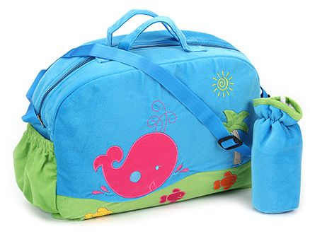 Sapphire Diaper Bag with Bottle Cover Blue - Fish Design