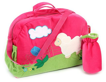 Sapphire Diaper Bag with Bottle Cover Pink - Sheep Design