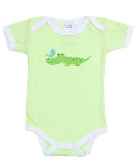 Honey Bunny Green Half Sleeves Onesies - Crocodile Print