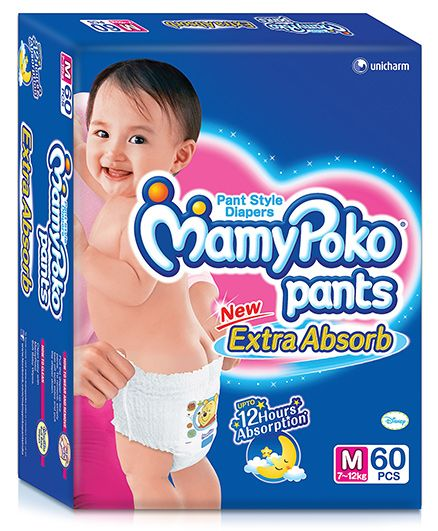 Mamy Poko Extra Absorb Pant Style Diaper Medium - 60 Pieces