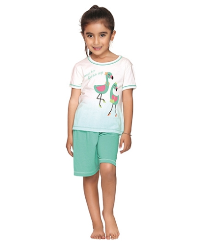 Kanvin Love To Dress Up Duck Print Nightwear- White and Green