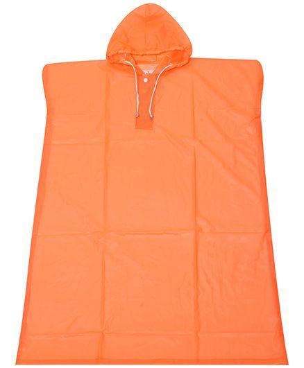 Babyhug Poncho Style Raincoat With Hood - Orange