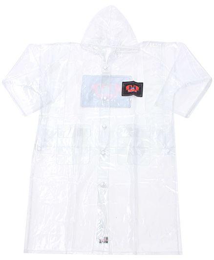 Babyhug Plain Raincoat With Hood - Clear PVC