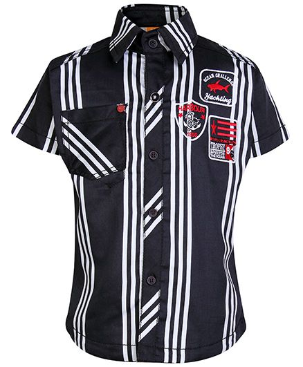 Little Kangaroos Half Sleeves Shirt with Stripe Print - Black and White