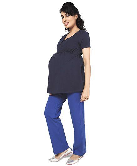 Nine Short Sleeves Maternity Nursing Top - Black