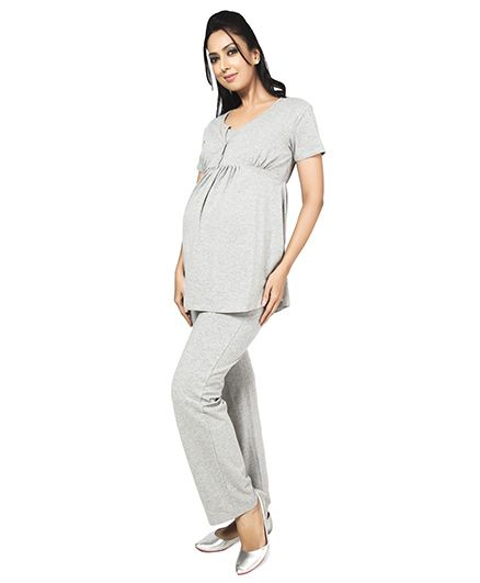 Nine Short Sleeves Maternity Nursing Blouse - Grey