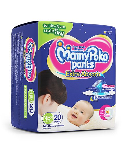 Mamypoko Pants Baby Diapers, New Born 1 (20 Pieces)