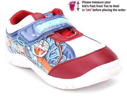 Doraemon Casual Shoe With Velcro Strap - Maroon and Blue