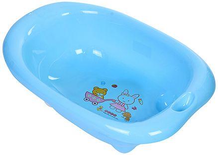 Fab N Funky Bath Tub Rabbit And bear Print - Blue