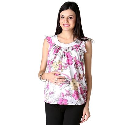 Morph Short Sleeves Maternity Woven Top - White