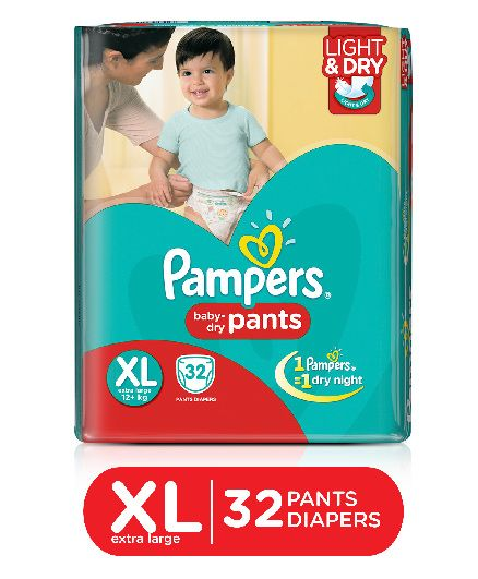 Pampers Pant Diapers Light And Dry Extra Large - 32 Pieces