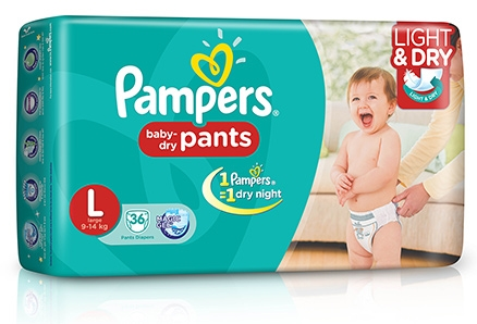 Pampers Pant Diapers Light And Dry Large - 36 Pieces