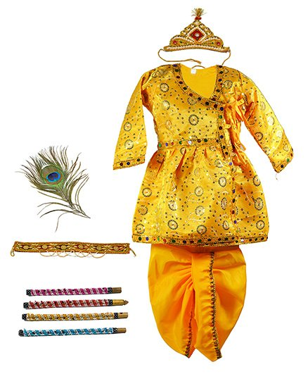 Little Krishna Themed Krishna Costume Set With Accessories - Yellow