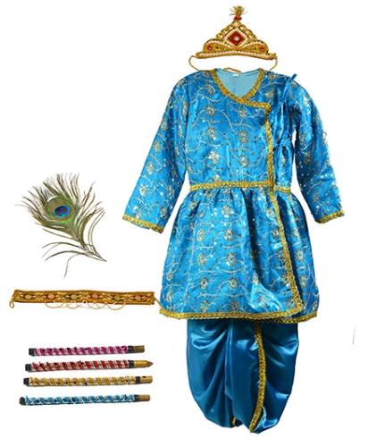 Little Krishna Themed Krishna Costume Set With Accessories - Blue
