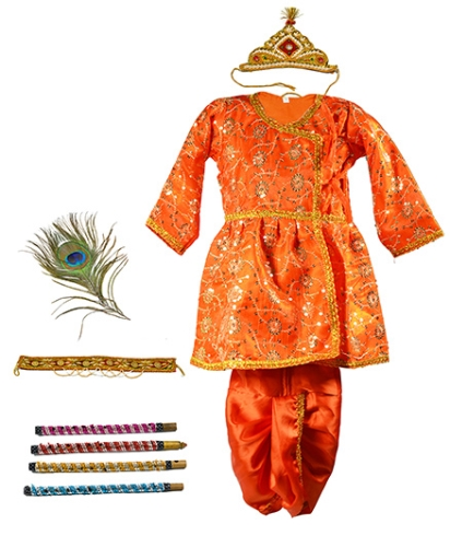Little Krishna Themed Krishna Costume Set With Accessories - Orange