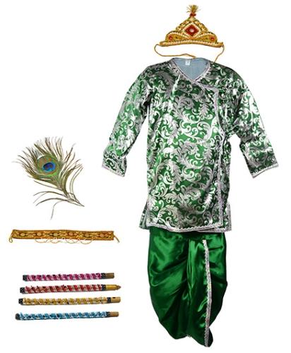 Little Krishna Themed Krishna Costume Set With Accessories - Green