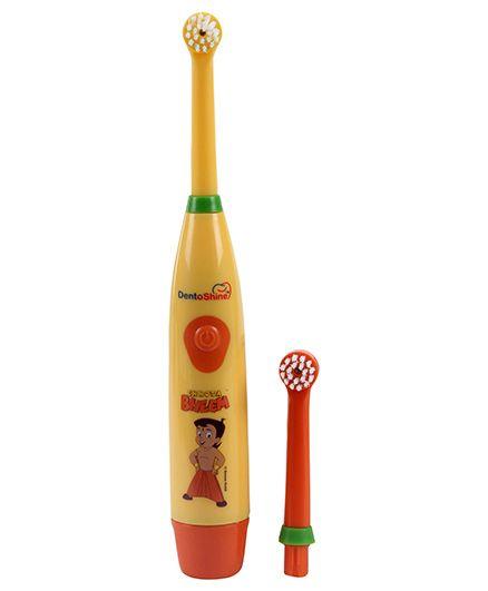 Chhota Bheem Power Tooth Brush With Extra Head - Yellow And Orange