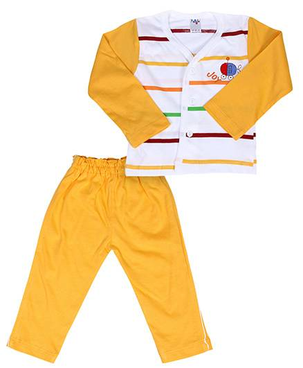 Paaple Full Sleeve Night Suit With Joy Embroidery - Yellow