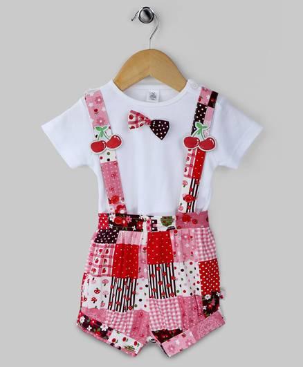 Holly Red Cherry Print Romper Set