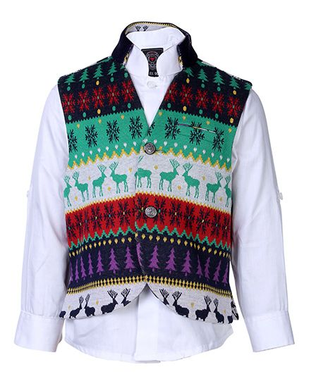 Little Bull Steampunk Vest With Full Sleeves Shirt- Green Multicolour And White