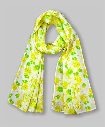 Floral Print Scarf -Yellow