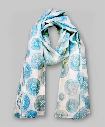 Floral Print Scarf -Blue