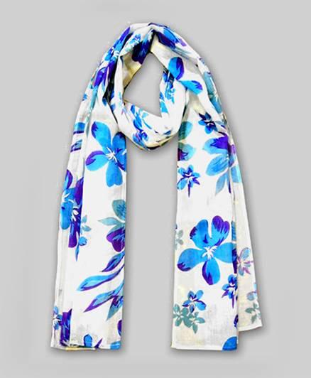 Floral Print Scarf - Blue