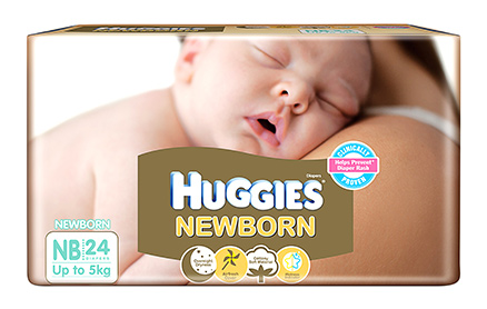Huggies Baby Diapers, New Borns - 24 Pieces