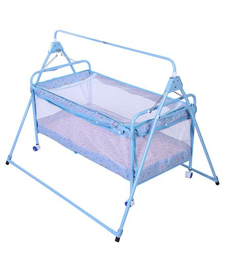 Infanto Sleep Well Baby Cradle Printed - Blue