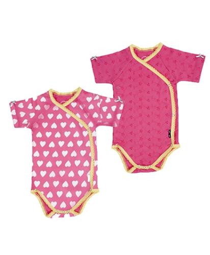 Claesens Kimono Romper Pink Hearts - Pack of 2