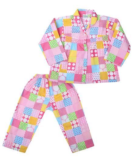 Babyhug Full Sleeves Night Suit - Pink