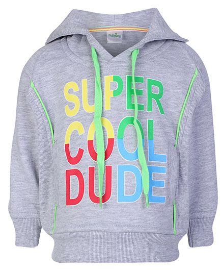 Babyhug Full Sleeve Hooded Sweatshirt - Super Cool Dude Print