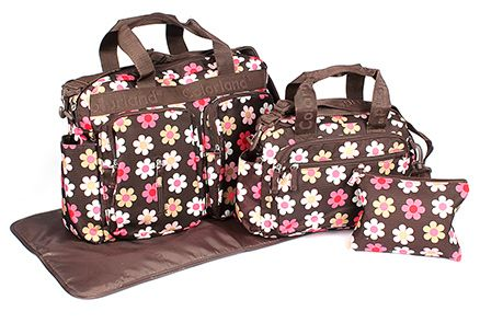 Fab N Funky Mother Bag Set Floral - Brown