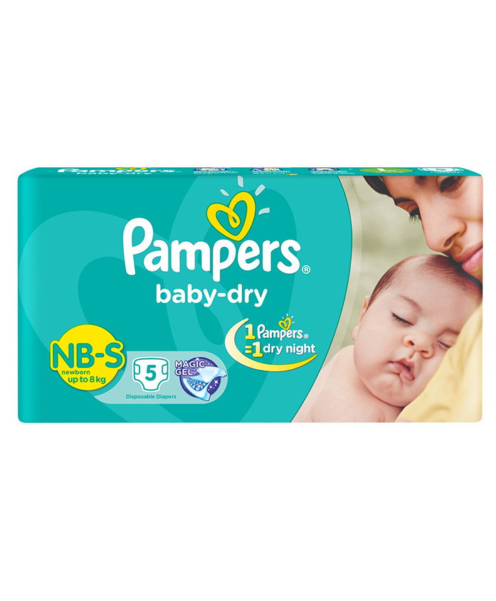 Pampers Baby Dry Diaper Newborn To Small - 5 Pieces