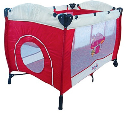 Tollyjoy Play Pen - Red and Beige