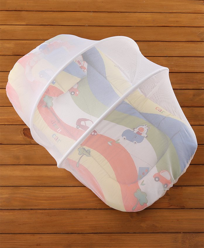 Babyhug Premium Gadda Set With Mosquito Net Orange - Mini Cars Print