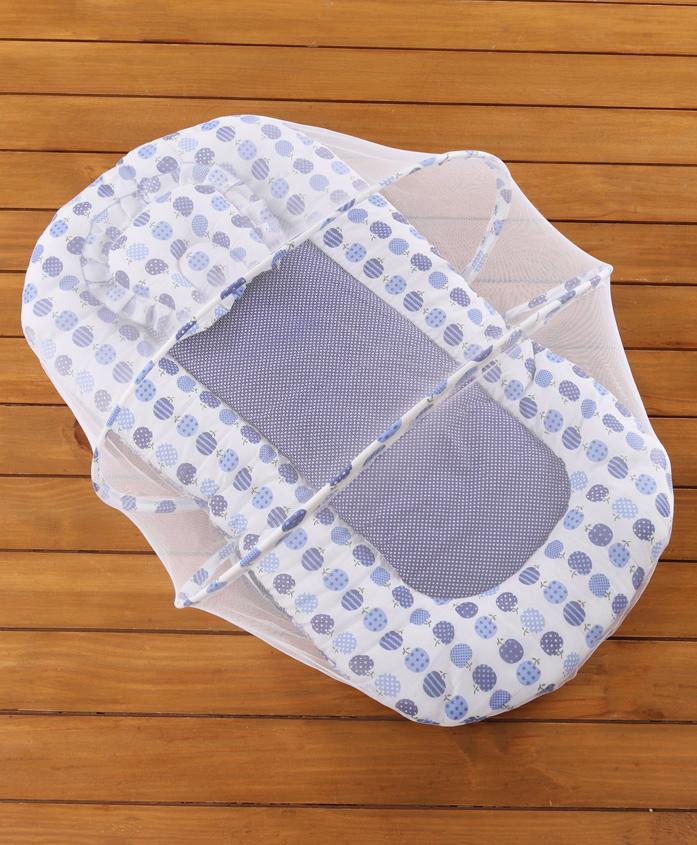 Babyhug Cherry Print Gadda Set With Mosquito Net - Blue