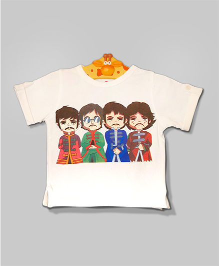 Ivory Fab 4 Beatles Button Sleeves Tee